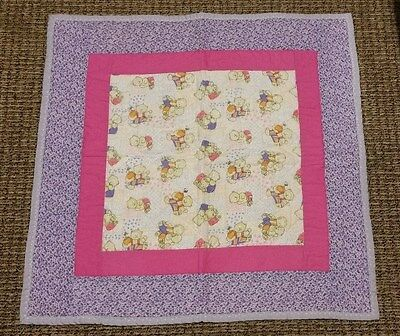 BUBBLES /& BEARS BABY Quilt Top Wallhanging NURSERY Fabric BUTTERFLY BEARS NEW