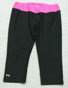 Under-Armour-Heat-Gear-Large-Woman-039-s-Capri-Athletic-Pants-Poly-Spandex-Black-AP4