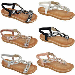 Ladies-Sandals-Womens-Diamante-Sling-Back-Open-Toe-Post-Shoes-Fashion-Summer-New