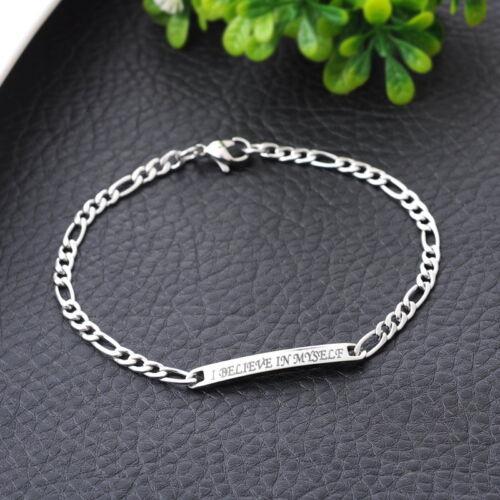 Womens Mens Sliver Stainless steel Bracelet crack heart engraved jewelry