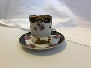 Lefton-China-Demitasse-cup-amp-saucer-set-Hand-Painted-20515-Gold-and-Black