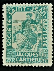 Societe-Saint-Jean-Baptiste-Turquoise-1935-JACQUES-CARTIER-Timbre-Canada-F-VF