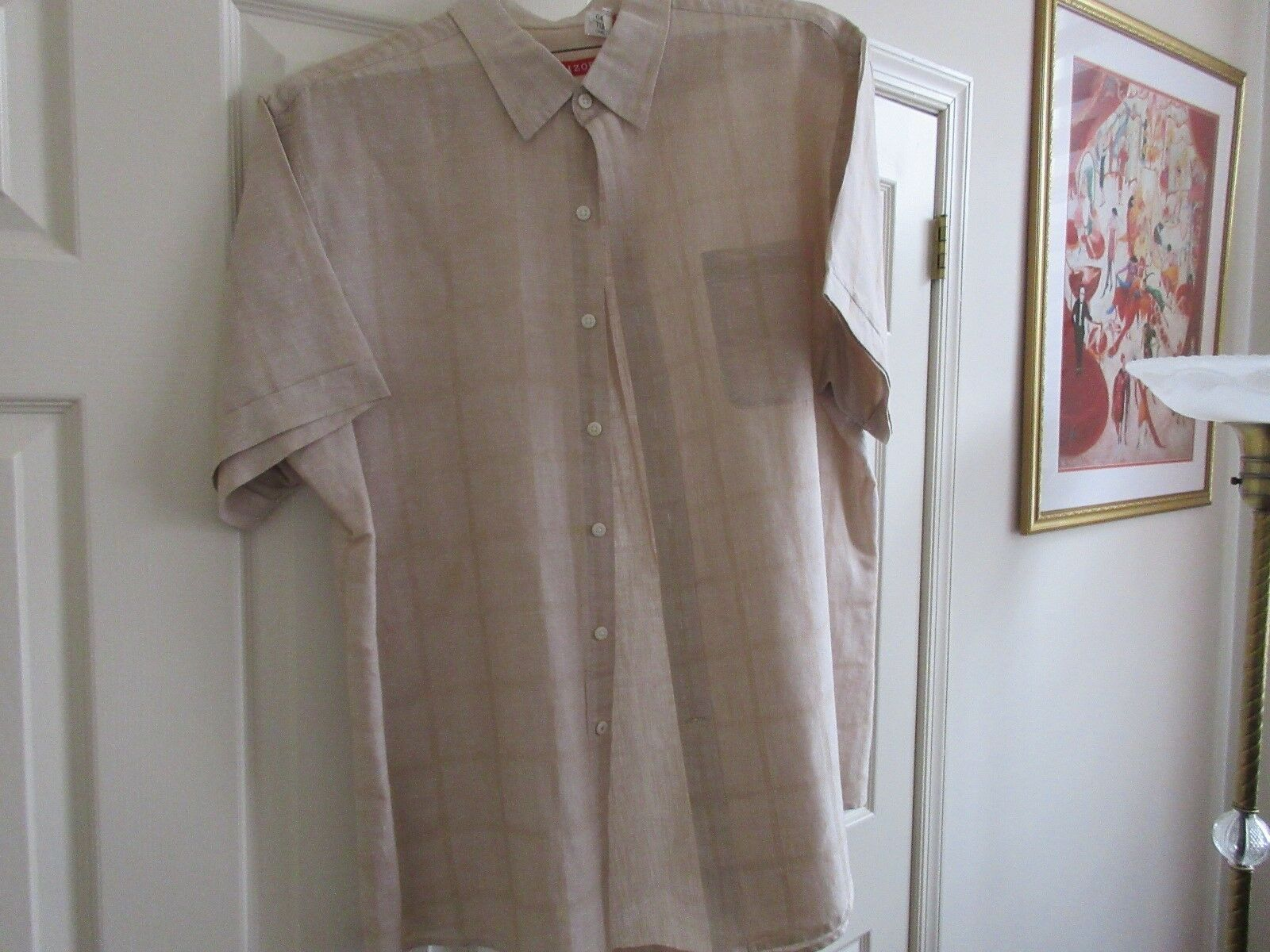 IZOD , XL/TG /XG , Men's Short Sleeve Shirt , Tan Color