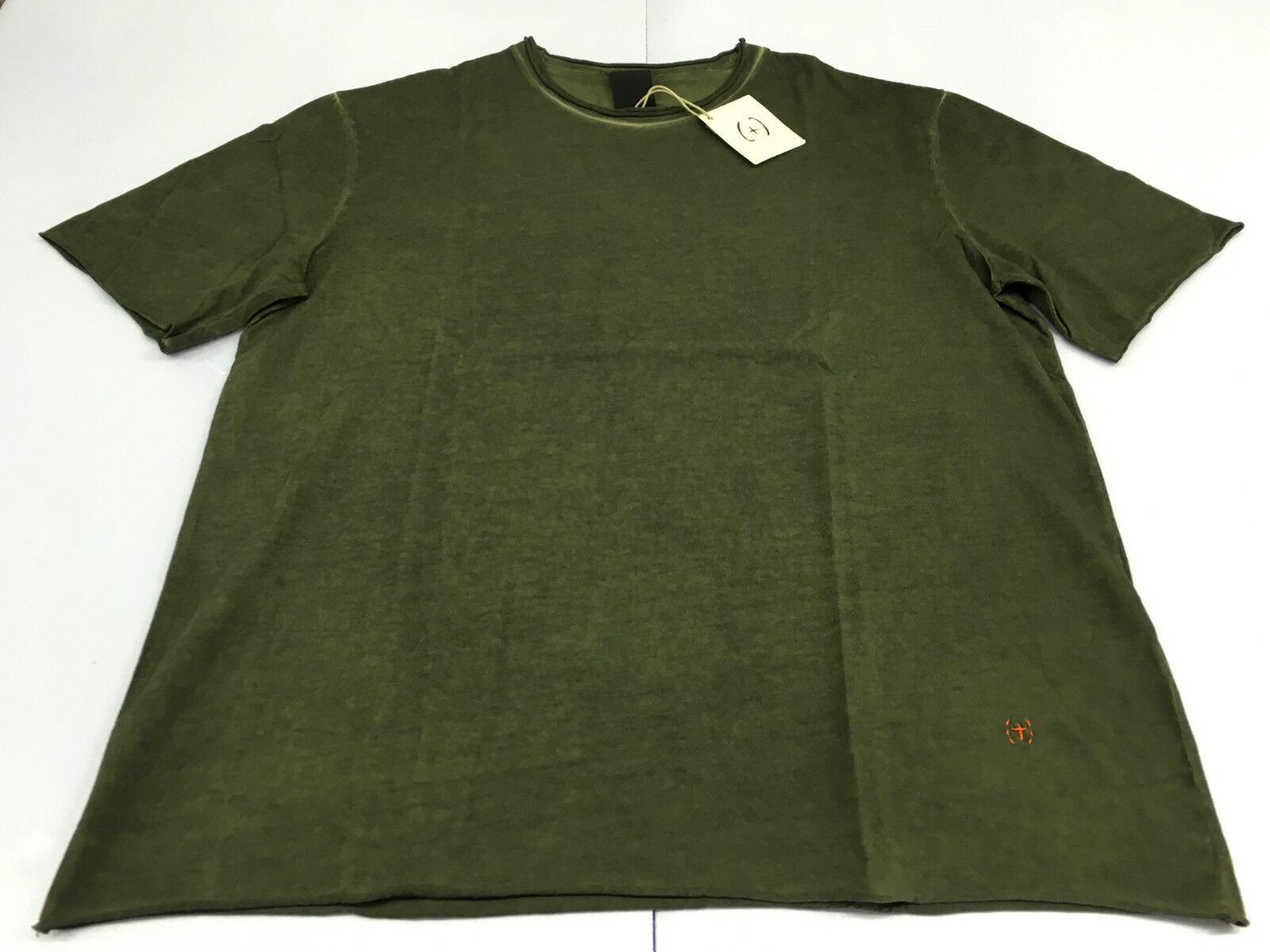 (+)PEOPLE t- shirt uomo mezza manica verde tinto in capo MADE IN ITALY XXL