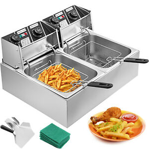 2x10L-Stainless-Steel-Commercial-Twin-Double-Tank-Electric-Deep-Fat-Fryer-Basket