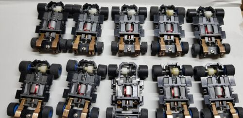TYCO 440X2 WIDE PAN CHASSIS COMPLETE 10PCS, Grey/Blue WHEELS, NEW. FREESHIP!!