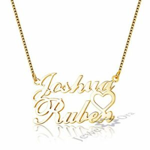 Custom double name necklace with heart personalized pendant jewelry image is loading custom double name necklace with heart personalized pendant aloadofball Images