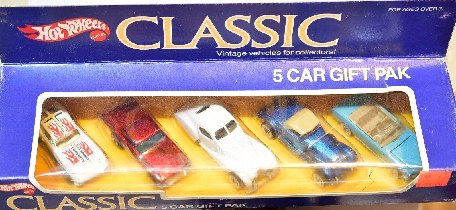 Hot Wheels Classic 5 Coche Coche Coche Regalo Pak Corvette T-Bird Mercedes Mustang b550ec
