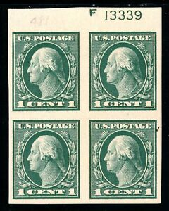USAstamps-Unused-VF-US-Washington-Imperforate-Plate-Block-Scott-481-OG-MLH