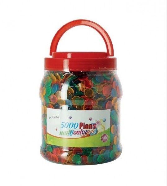 Boite 5000 pions de marquage Loto Bingo jetons multicolors flashy 15 mm 25501