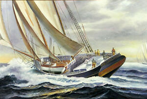 Dream-art-Oil-painting-seascape-big-sail-boats-ship-on-ocean-with-storm-24-034-x36-034