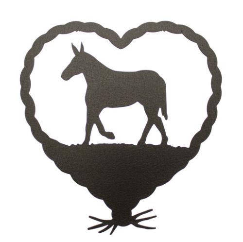 Mule in heart black metal wall decor