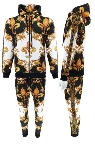 Mens Baroque Print Urban Hip Hop Tracksuit Matching Hoodie Joggers Outfits Sets