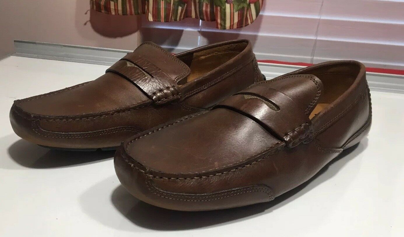 102 Clarks  marrón Leather Moc Apron Driving Penny Loafer Casual zapatos SZ 11.5 M