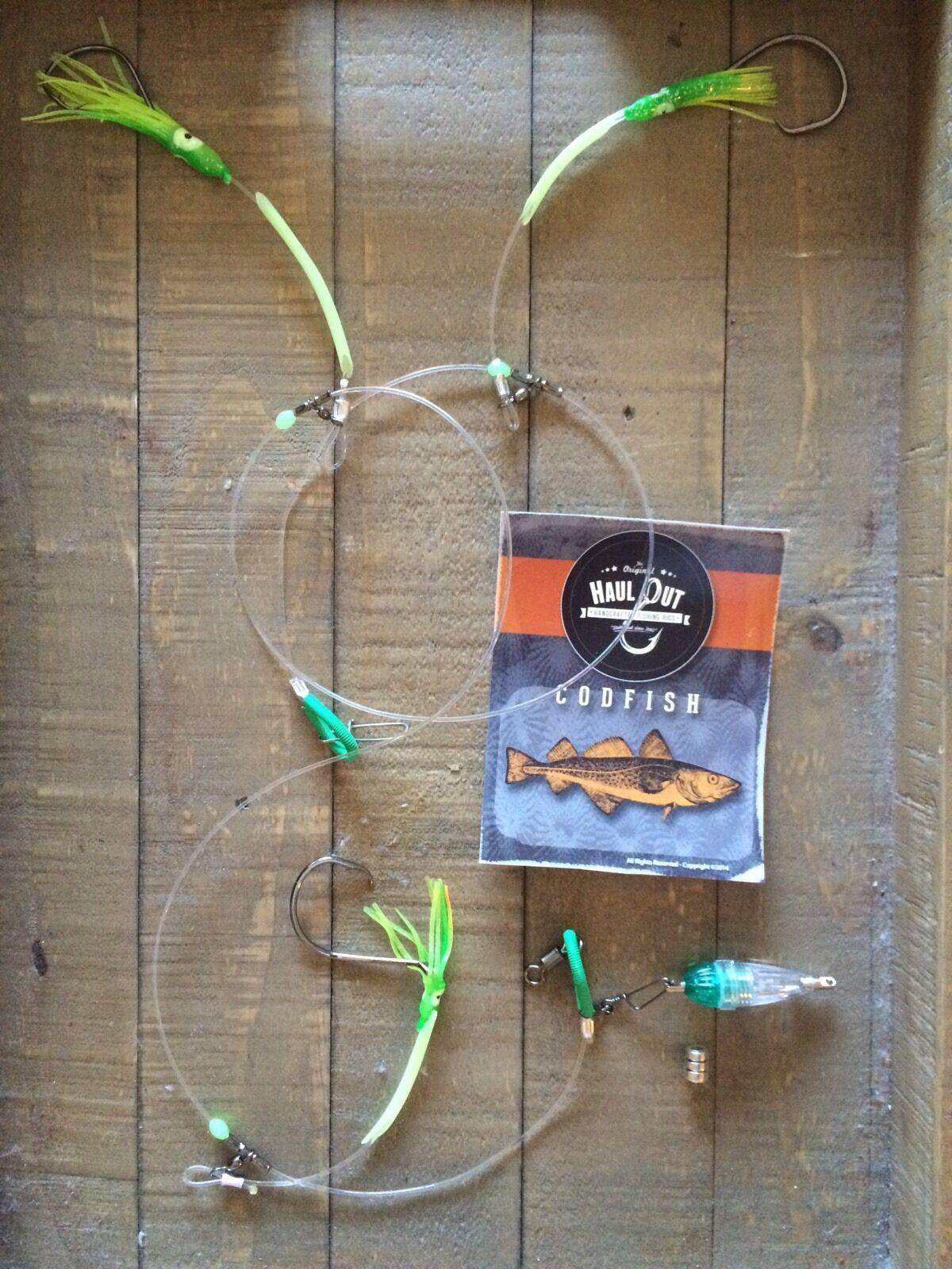 9 CODFISH GROUPER rot SNAPPER FISHING RIG deep drop light and glow 3 hooks    T