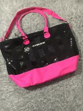 VICTORIA'S SECRET BLACK & PINK SEQUIN BLING LARGE WEEKENDER TOTE BAG BIG W STRAP