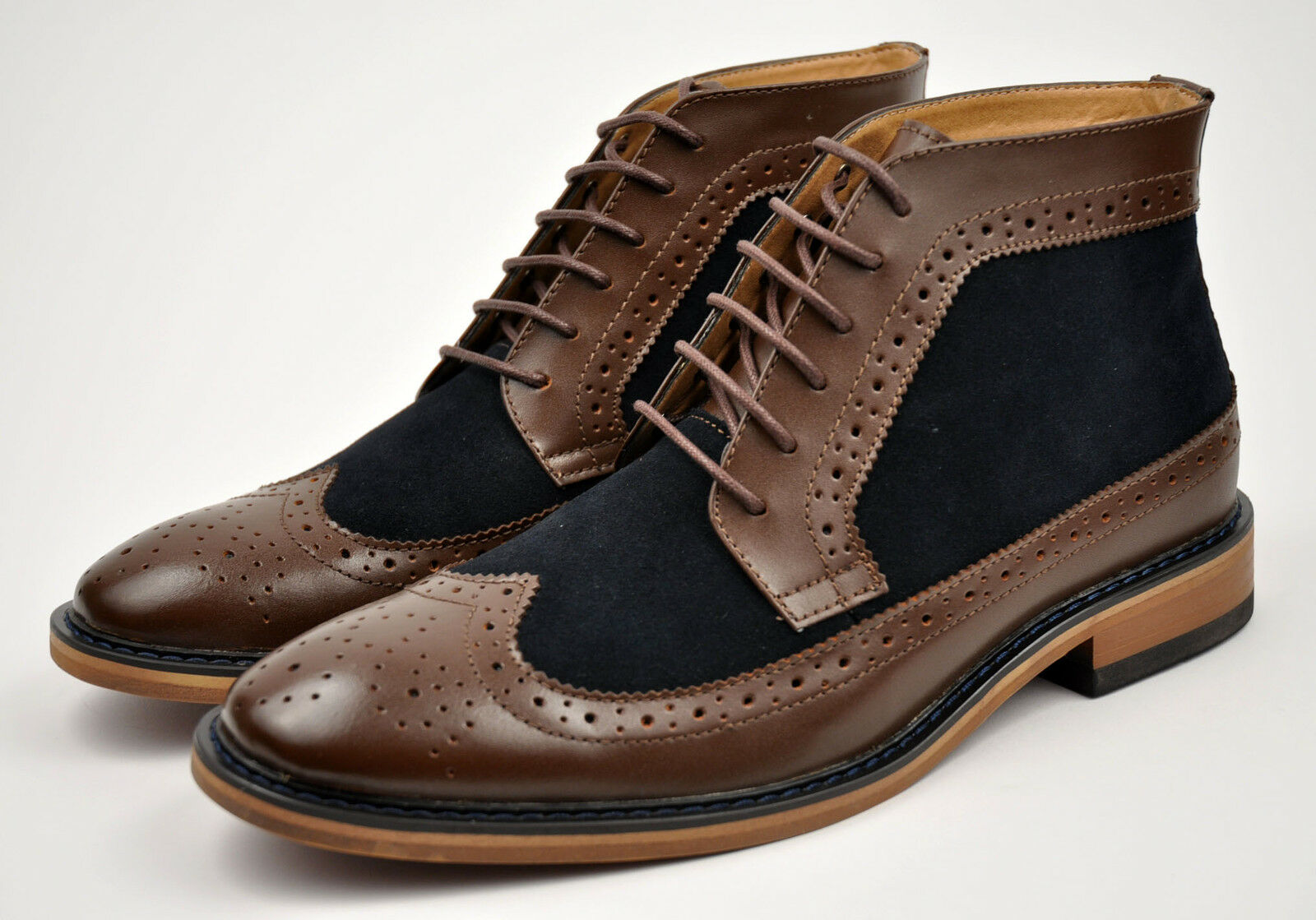 LA MILANO Men's Brown Navy Genuine Leather Fall Winter Dress Boots shoes B5903