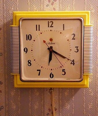 Vintage TELECHRON Mid Century RETRO Yellow Electric Wall Clock Retro Works