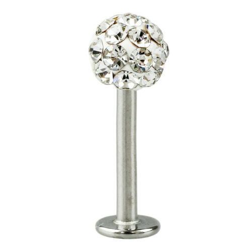 Tragus Cool Crystal Gem Stainless Steel Labret Piercing Stud for Lip Ea F9O2