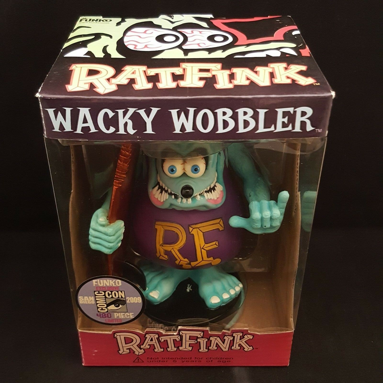 FUNKO Ed rojoh Rat Fink Surf Sdcc 2009 1 480 Wacky Wobbler Bobble Head desgaste de caja
