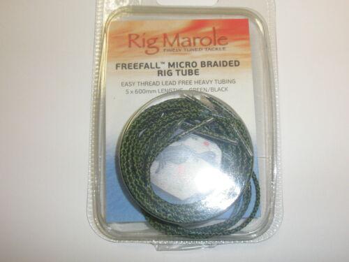 Black Carp fishing Rig Marole Freefall Micro Braided Tubing 600mm 5pk Green