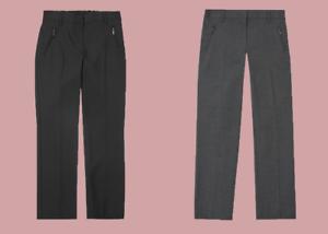 Ex M*S Girls/' Slim Leg School Trousers in Grey Black Navy Age 2-16 Y P68
