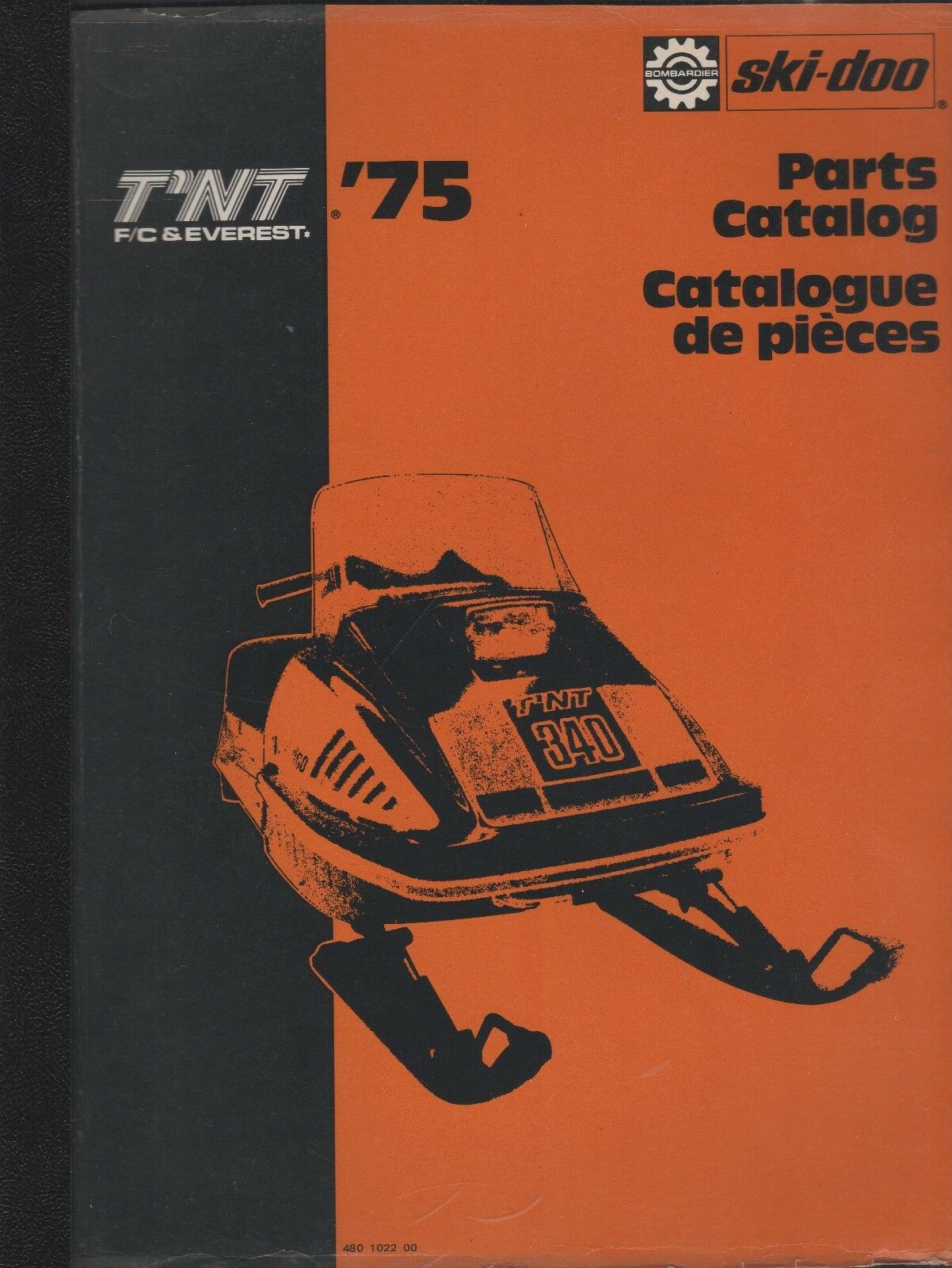 1975 SKI-DOO T'NT F A 245 RV SNOWMOBILE PARTS MANUAL 480 1027 00 (586)