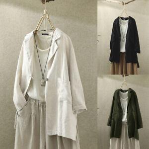 Mode-Femme-Chemise-Poche-Loisir-Ample-Manche-Longue-Coton-Casuel-Haut-Tops-Plus