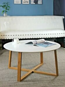 Details About Avery Round Coffee Table White Wooden Top Bamboo Legs Cft43