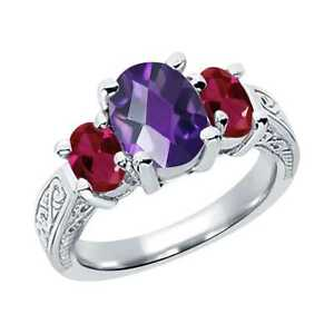 2-96-Ct-Oval-Checkerboard-Purple-Amethyst-Red-Created-Ruby-Silver-3-Stone-Ring