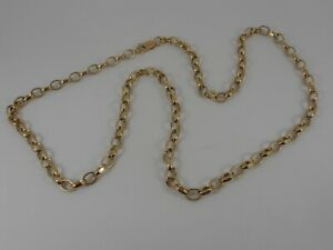 9ct-YELLOW-GOLD-FACETED-OVAL-BELCHER-NECK-CHAIN-NECKLACE-24-034-LONG-HALLMARKED