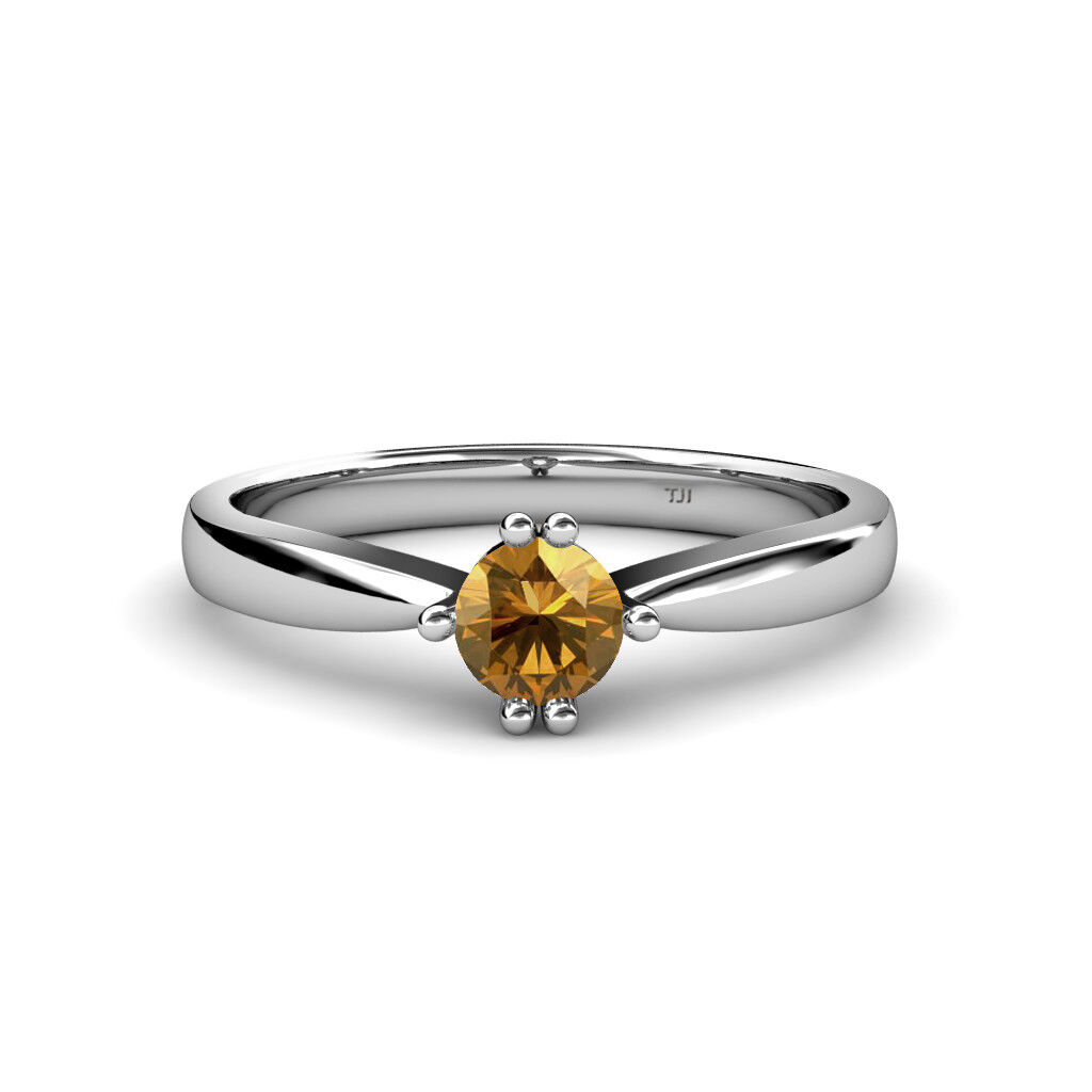 Round Citrine 6 Prong Women Solitaire Engagement Ring 14K gold JP 79855