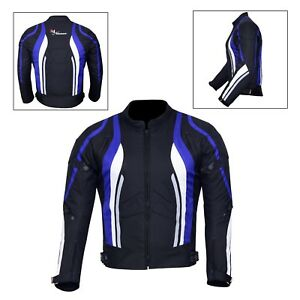 New-Men-039-s-Motorcycle-Motorbike-Jacket-Waterproof-Textile-With-CE-Armoured-Blue