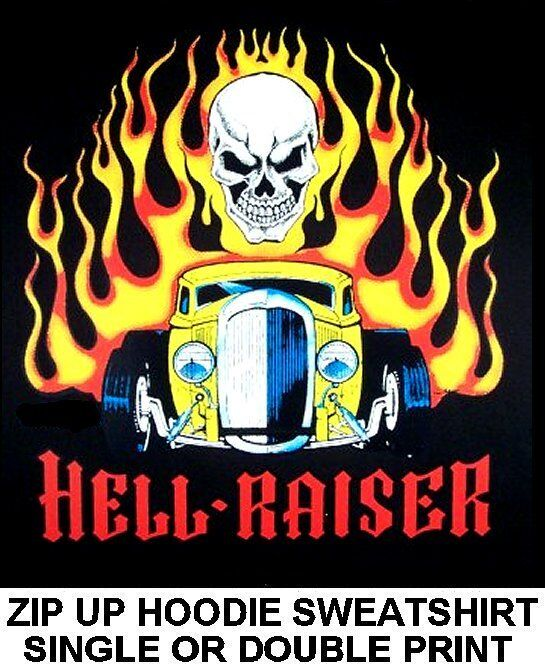 HELL RAISER OUTLAW STREET HOT RAT ROD RACE CAR SKULL FLAME ZIP HOODIE SWEATSHIRT