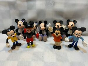 Lot of 9 MICKEY MOUSE Figures Plush Rubber Bendable Squeak Toy 1977 McDonalds