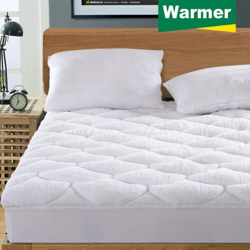 """Reversible Mattress Pad Cooling Warmer Quilted All Season Fitted Deep Pocket 21/"""""""