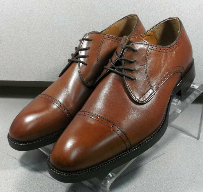 152664 MS50 Men's shoes Size 10 W Dark Tan Leather Lace Up Johnston & Murphy