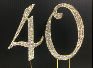 NEW Large Rhinestone Gold NUMBER(40) Cake Topper 50th ...