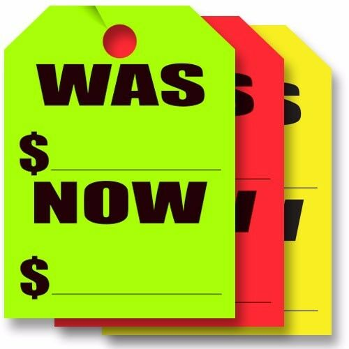 """Now/"""" /""""Was 50 per pack Car Dealer Hang Tags Rearview Mirror Tags 2-packs"""