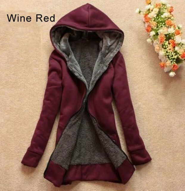 Women's Lady Clothes Thicken Winter Warm Jacket Coat Hooded Fleece Outerwear