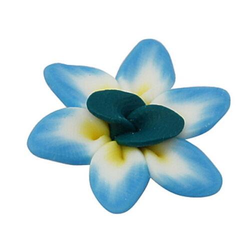 10 Handmade Colourful Polymer Clay Flowers G9
