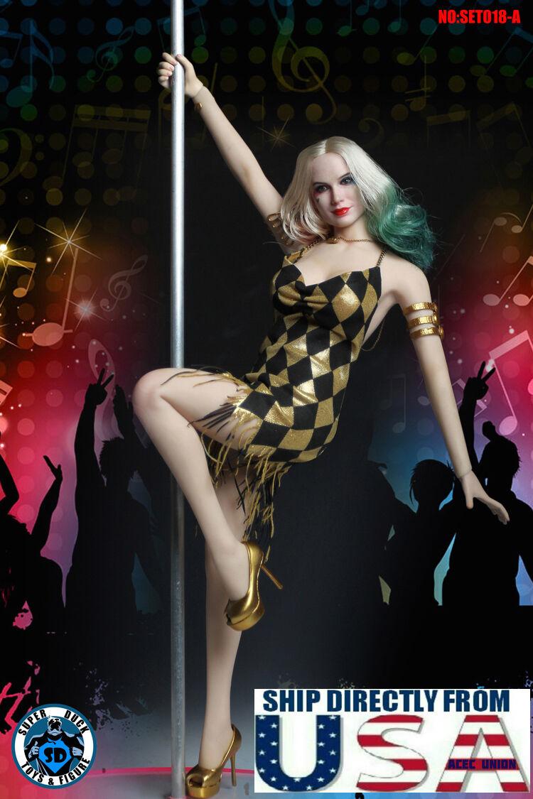 1 6 Harley  Quinn Head Sculpt Pole Dance Set Suicide Squad For PHICEN cifra USA  alta qualità e spedizione veloce