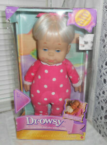"""NIB Drowsy Talking Doll Mattel 15"""" Classic Collection 2000 Unopened Pink Blond"""
