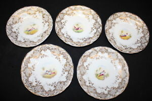 5-Mid-19th-Century-English-Porcelain-Saucers-Hand-painted-Bird-Motif-w-Gold