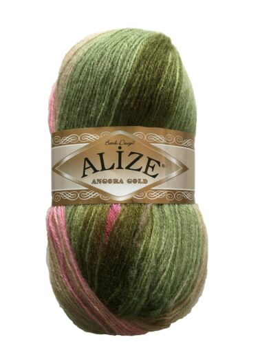 Alize Angora Gold  100grm Ball Shade 2527 Pink//Green