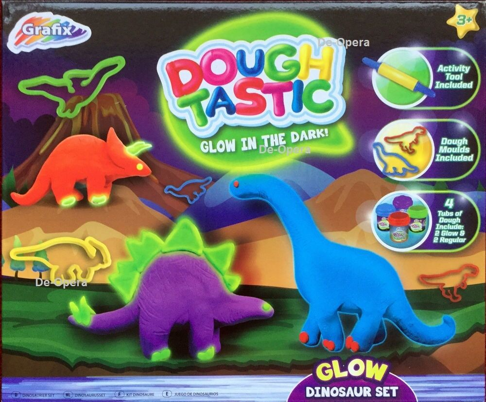 New Grafix DoughTastic Glow in the Dark Dinosaur Set Kid Play
