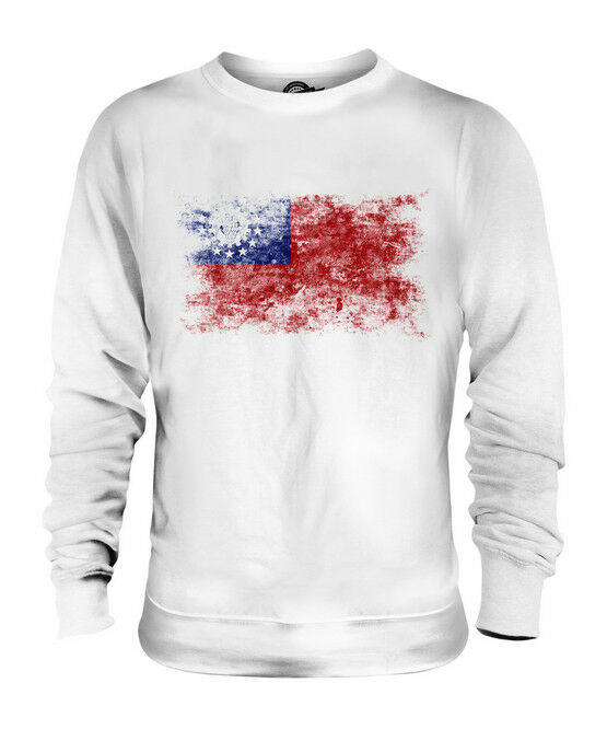 BURMA DISTRESSED FLAG UNISEX SWEATER TOP MYANMA FOOTBALL BURMESE GIFT SHIRT