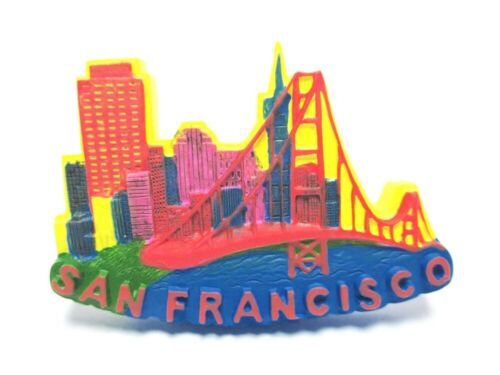 San Francisco Poly Magnet Golden Gate Bridge Skyline Souvenir USA