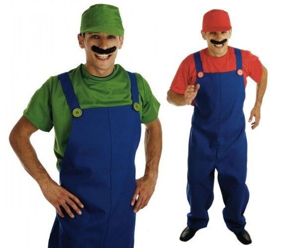 Herren Erwachsene Super Mario oder Luigi 1980s Jahre Klempner Kostüm Kleid | Erste in seiner Klasse