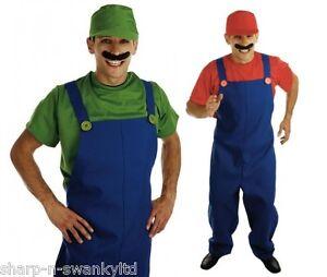 da-uomo-Adulti-Super-Mario-O-LUIGI-1980s-Idraulico-costume-vestito-M-L-XL